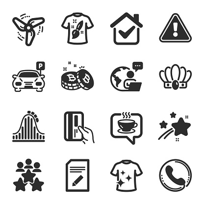 Set of Business icons, such as Coffee, Call center, Crown symbols. Parking, Wind energy, Clean t-shirt signs. Vector