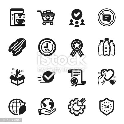 Set of Business icons, such as Environment day, Coffee maker. Certificate, approved group, save planet. Spanner, Seo gear, 48 hours. Add products, Hold heart, 24 hours. Vector