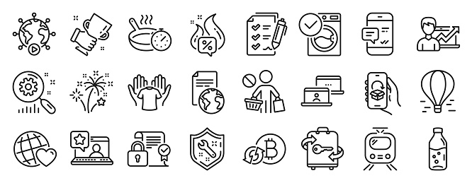 Set of Business icons, such as Hot offer, Friends world, Fireworks. Vector