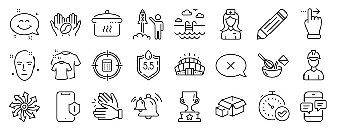 Set of Business icons, such as Packing boxes, Clean t-shirt, Arena stadium. Vector