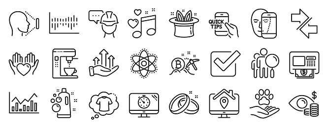 Set of Business icons, such as Synchronize, Hold heart, Hat-trick. Vector