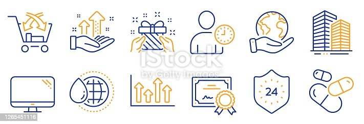 Set of Business icons, such as Time management, World water. Certificate, save planet. Capsule pill, Computer, Analysis graph. 24 hours, Cross sell, Gift. Vector