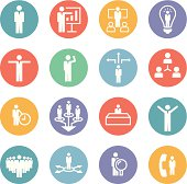 Set of interface business icons - layered vector illustration.  Every shape is aligned to pixel grid - paths are sharp.