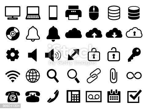 A set of business icons.