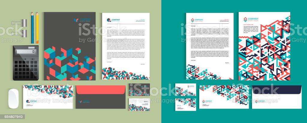 Satz Von Unternehmensidentitätdesignvorlagen Schreibset Briefkopf A4