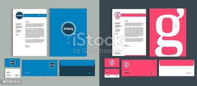 istock Set of Business identity design templates. Stationery set -  Letterhead A4 template, name card (3,5 x 2), envelope (8.66 x 4.33), presentation folder(9 x 12). Vector illustration. 957054310