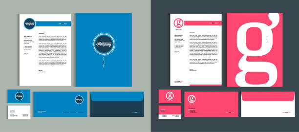 set of business identity design templates. stationery set -  letterhead a4 template, name card (3,5 x 2), envelope (8.66 x 4.33), presentation folder(9 x 12). vector illustration. - business cards templates stock illustrations