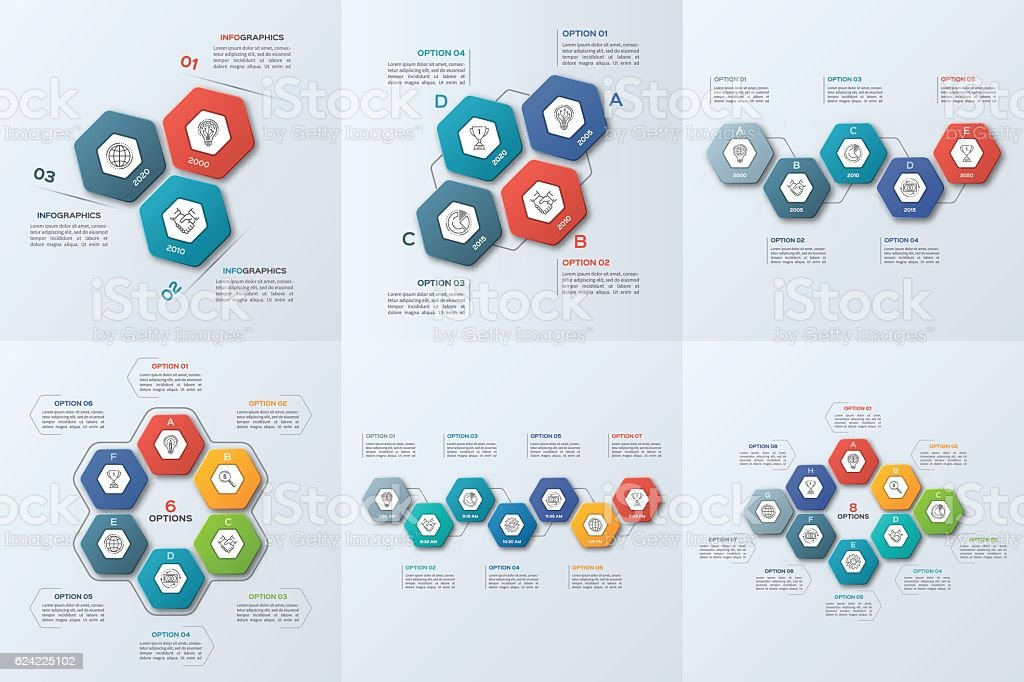 Set of business infographic templates with 3-8 steps vector art illustration
