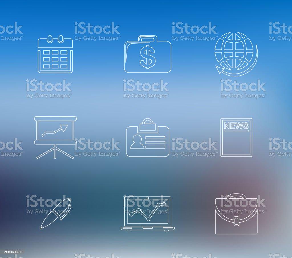 Set of business line icons vector art illustration