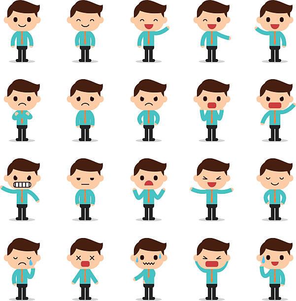 set of business man character - tears of joy emoji stock illustrations, clip art, cartoons, & icons