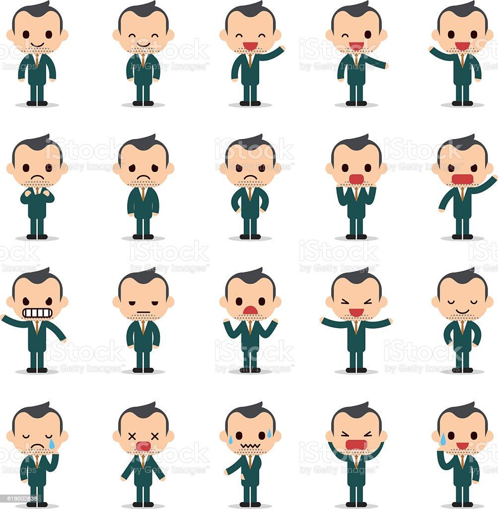 Set of business man character vector art illustration