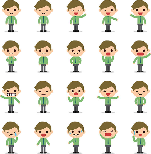set of business man character - tears of joy emoji stock illustrations