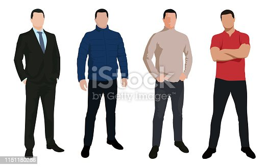 Set of business man, isolated vector characters in various clothing, flat design illustrations. People silhouettes
