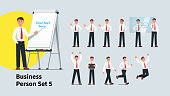 Set of business man poses and actions. Collection of gestures of manager. Businessman giving presentation, advertising product and celebrating success. Management collection. Flat vector illustration