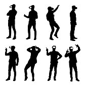 Set of business man silhouettes using virtual reality glasses headset