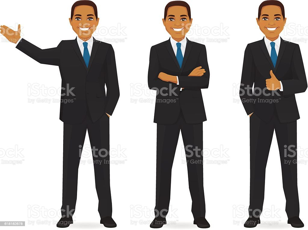 Set of business man vector art illustration