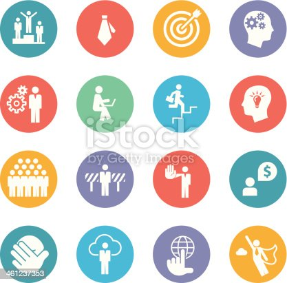 Set of business icons - layered vector illustration.  Every shape is aligned to pixel grid - paths are sharp.