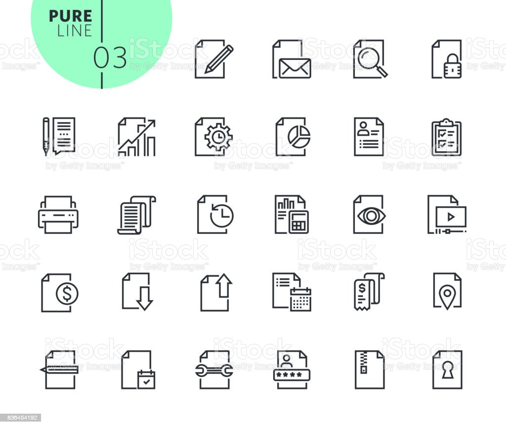 Set of business office icons vector art illustration