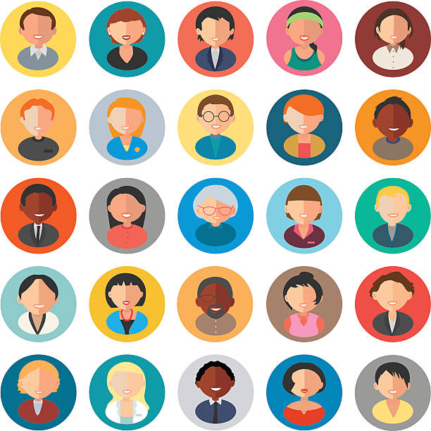 set of business people avatar - old man hair stock illustrations, clip art, cartoons, & icons