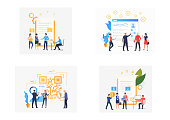 Set of business people awarding work contract. Flat vector illustrations of managers hiring staff. Recruitment concept for banner, website design or landing web page