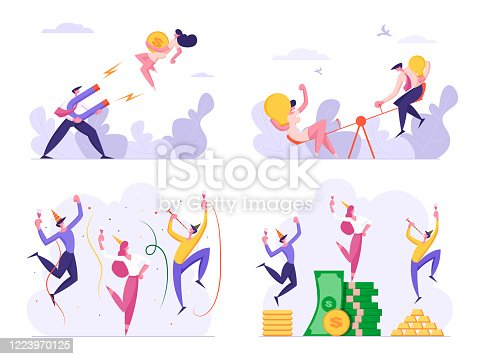 istock Set of Business People Celebrate Success Drinking and Dancing at Money Piles. Male and Female Characters Attract Clients with Magnet, Developing Creative Ideas, Start Up. Cartoon Vector Illustration 1223970125