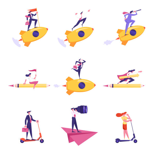 Set of Business People Characters Flying on Rocket, Paper Airplane and Huge Pencil Look in Spyglass and Binoculars, Hold Flag, Riding Scooter Isolated on White. Cartoon Vector Illustration, Clip Art Set of Business People Characters Flying on Rocket, Paper Airplane and Huge Pencil Look in Spyglass and Binoculars, Hold Flag, Riding Scooter Isolated on White. Cartoon Vector Illustration, Clip Art backgrounds clipart stock illustrations