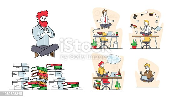 Set of Business People Characters Yoga Meditation Soaring in Air, Male and Female Office Workers Meditating at Workplace
