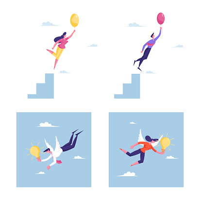Set of Business People Flying on Air Balloons, Male and Female Characters with White Wings and Glowing Light Bulbs. Creative Idea, Crisis Escape, Motivation or Inspiration. Cartoon Vector Illustration