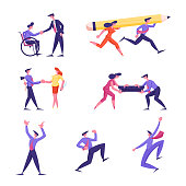 Set of Business People Hiring Disabled Man at Work, Carry Huge Pencil, Prepare Betrayal. Male and Female Character Building Bridge, Express Enjoyment and Celebrate Victory. Cartoon Vector Illustration