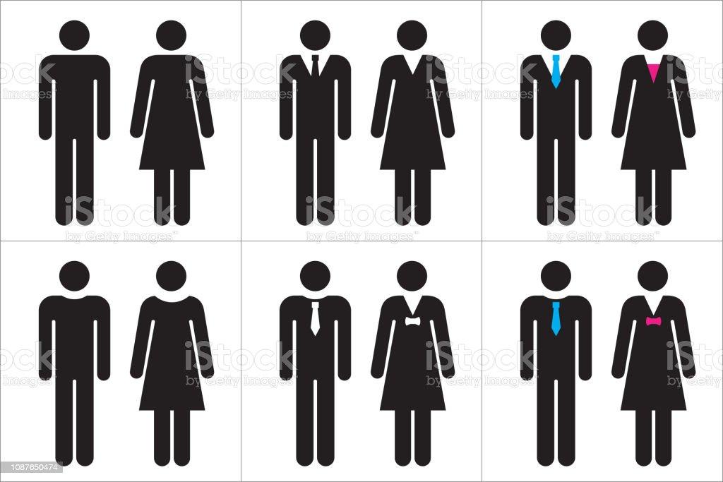 Uppsättning av business människor ikoner i svart och vitt – man och kvinna. - Royaltyfri Affärskvinna vektorgrafik