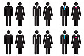 istock Set of business people icons in black and white – man and woman. 1087650474