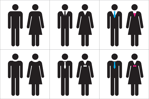Uppsättning Av Business Människor Ikoner I Svart Och Vitt Man Och Kvinna-vektorgrafik och fler bilder på Affärskvinna