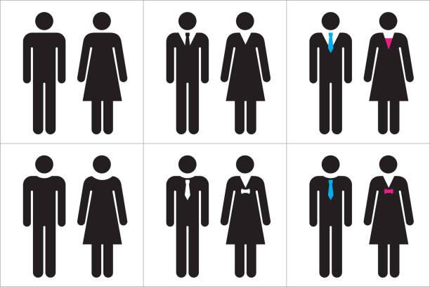 bildbanksillustrationer, clip art samt tecknat material och ikoner med uppsättning av business människor ikoner i svart och vitt – man och kvinna. - två människor