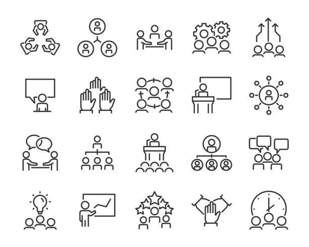 set of business people icons, such as meeting, team, structure, communication, member, group set of business people icons, such as meeting, team, structure, communication, member, group brainstorming stock illustrations