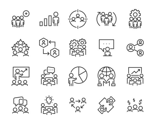 set of business people icons, such as meeting, team, structure, communication, member, group set of business people icons, such as meeting, team, structure, communication, member, group organized group stock illustrations