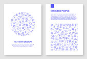Set of Business People Icons Vector Pattern Design for Brochure,Annual Report,Book Cover.
