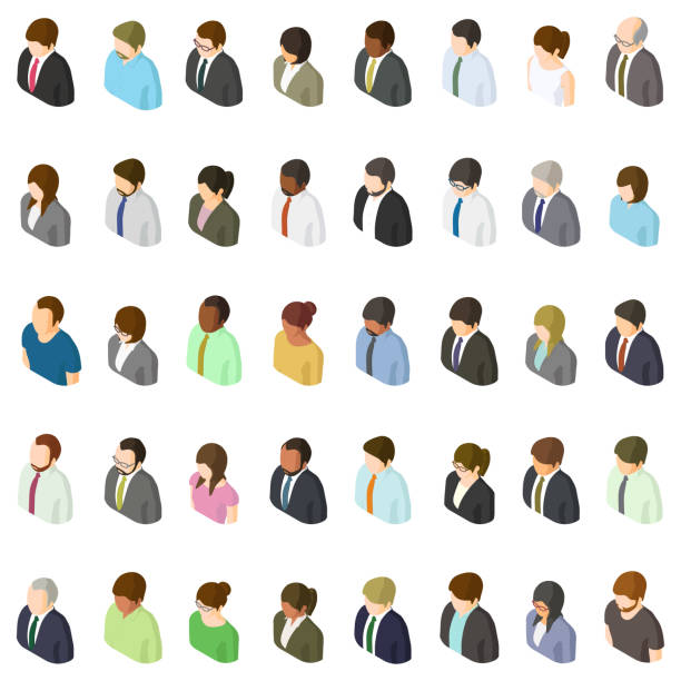 Set of business people isometric avatars vector art illustration