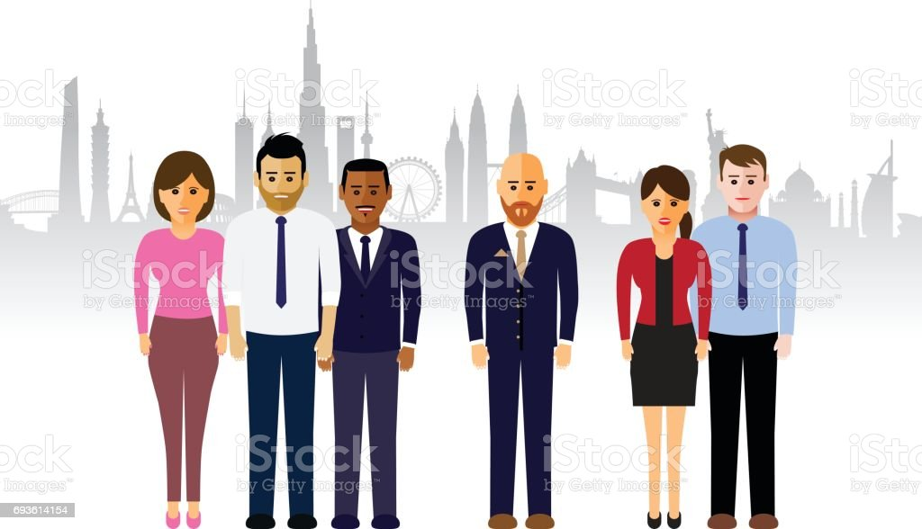 A set of business people on a cityscape background, cartoon illustration. vector art illustration
