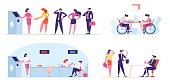 Set of Business People Stand in Queue at ATM, Visiting Bank for Money Transaction, Handicapped Male and Female Characters Employment in Office, Rabbit and Top Hat Trick. Cartoon Vector Illustration