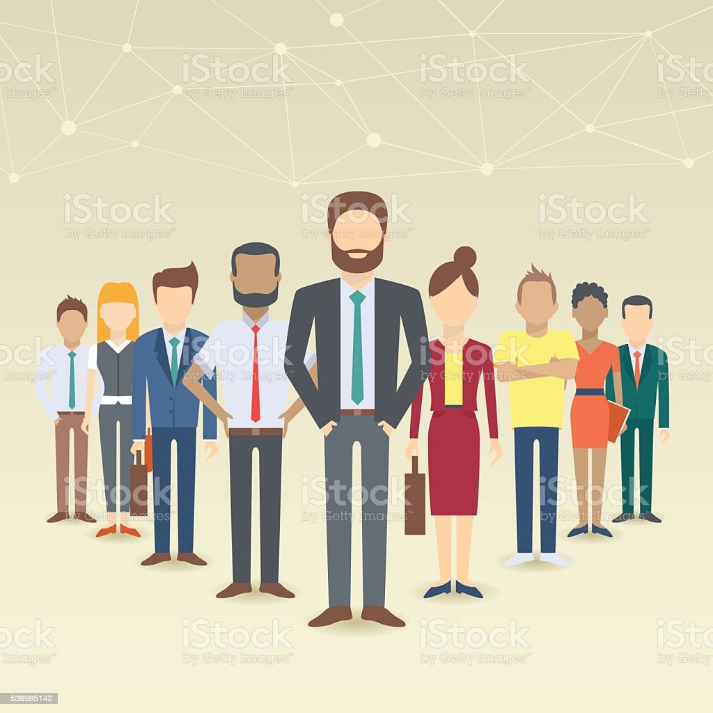 Set of business people vector art illustration
