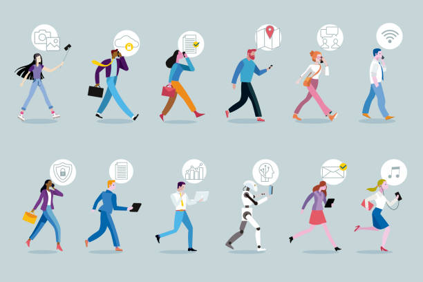 set of business people walking using their mobile devices - в пути stock illustrations