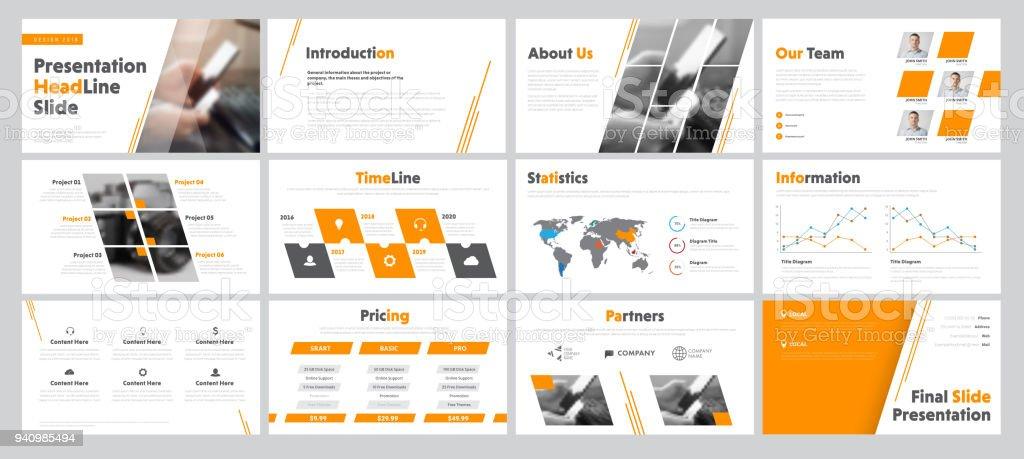 Satz von Geschäft Rutschen für Präsentation mit diagonalen und transparente Design-Elemente und ein Ort für Fotos. – Vektorgrafik