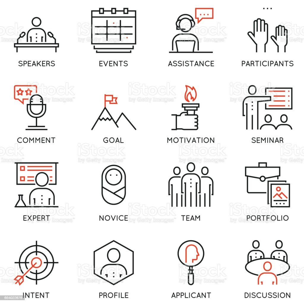 Set of business strategy, career progress and business process icons - part 1 vector art illustration
