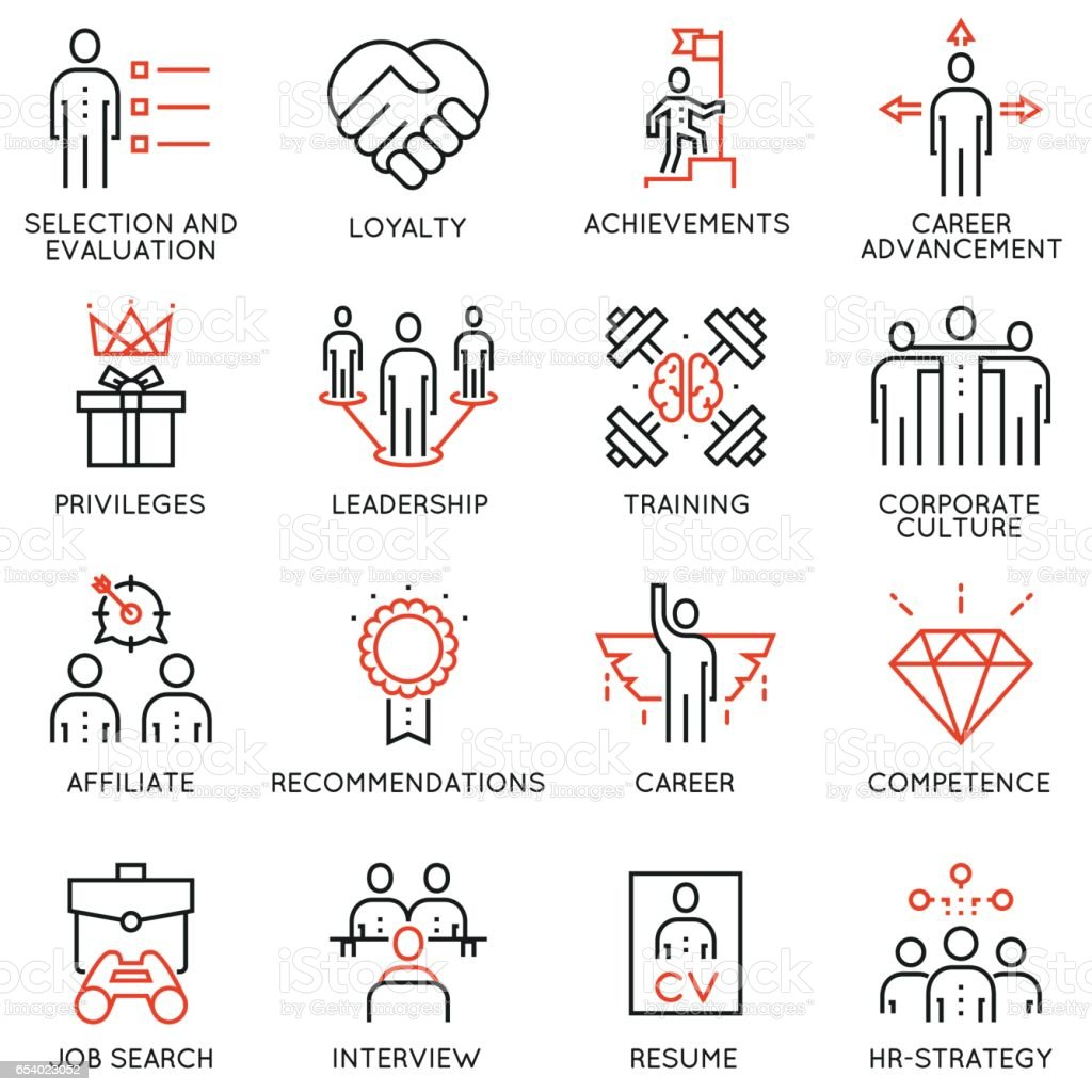 Set of business strategy, career progress and business process icons - part 2 vector art illustration