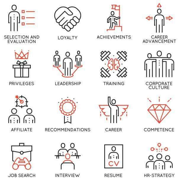 Jeu de stratégie commerciale, déroulement de carrière et les icônes de processus d'affaires - Partie 2 - Illustration vectorielle