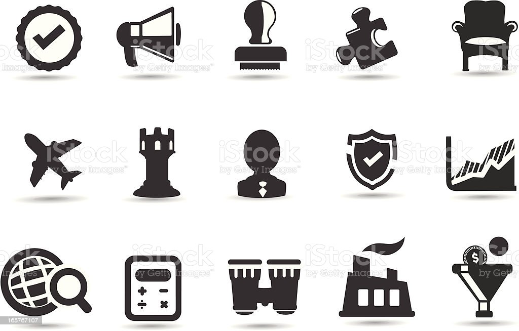 Set of business strategy icons vector art illustration