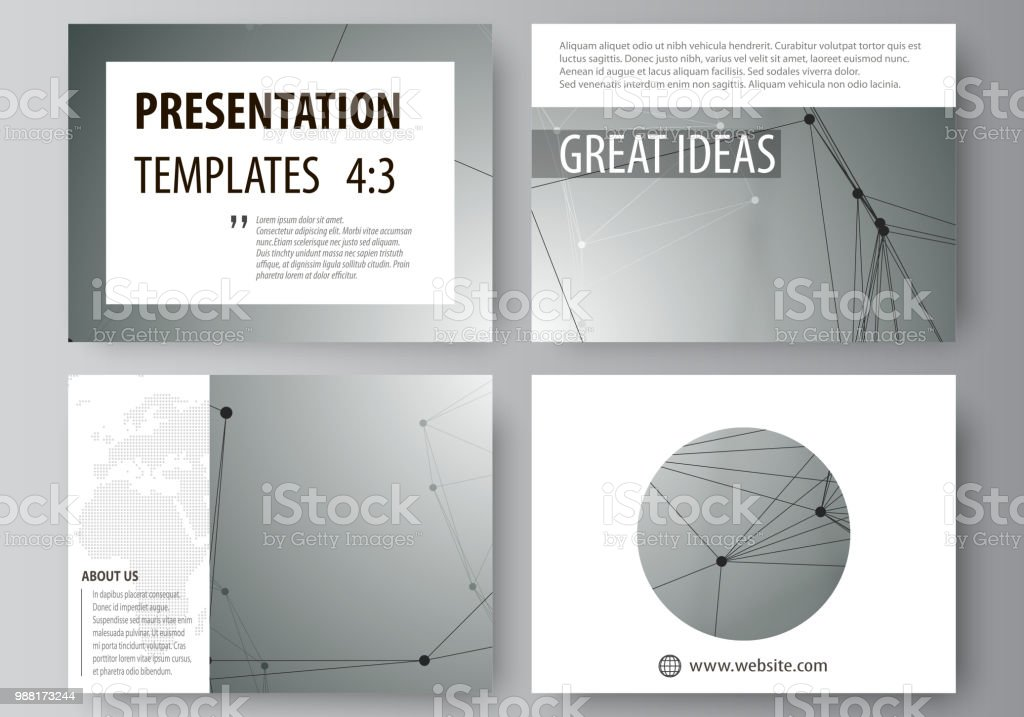 Set of business templates for presentation slides. Abstract vector layouts in flat design. Geometric background, connected line and dots. Molecular structure. Scientific, medical, technology concept - illustrazione arte vettoriale