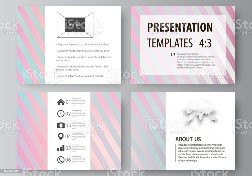 e114a7de9edba Set of business templates for presentation slides. Easy editable abstract  vector layouts in flat style. Sweet pink and blue decoration