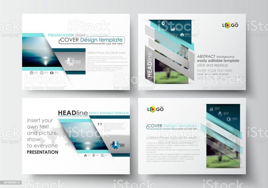 set of business templates for presentation slides flat design blue
