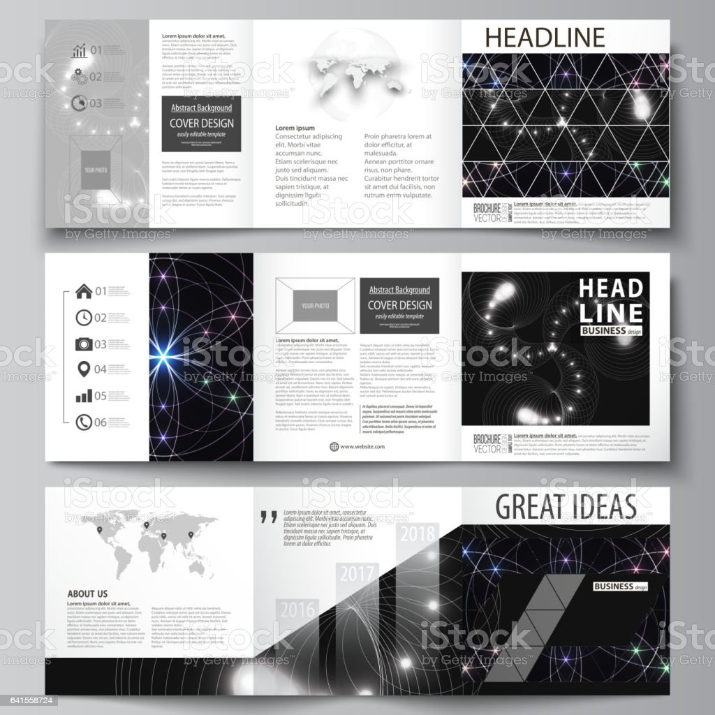 Set of business templates for tri fold square design brochures. Leaflet cover, abstract flat layout, easy editable vector. Sacred geometry, glowing geometrical ornament. Mystical background vector art illustration